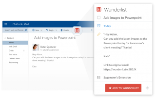 You can turn an email into a task with the Wunderlist Outlook add-in.